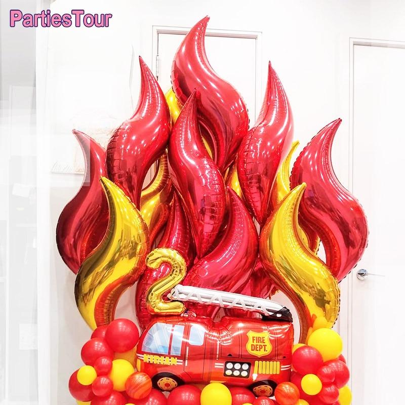 Украшение для пожарной машины, 6 шт., золотые красные шары, пожарный воздушный шар на день рождения