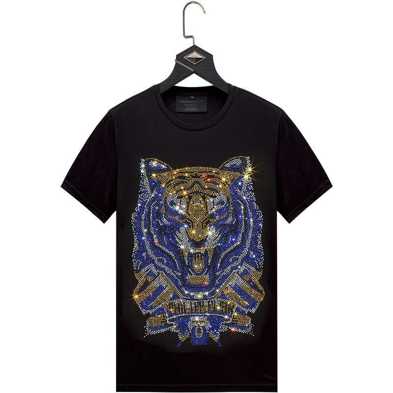 Preto t camisa fora do branco masculina t camisa masculina streetwear fino camisa de manga curta diamante incrustado tigre azul dourado plus size 6xl