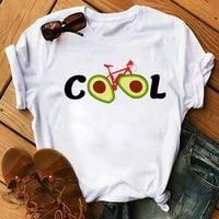 new funny women t shirt cool avocado bicycle printed tops female cute graphic tee shirts women summer short sleeve t shirt