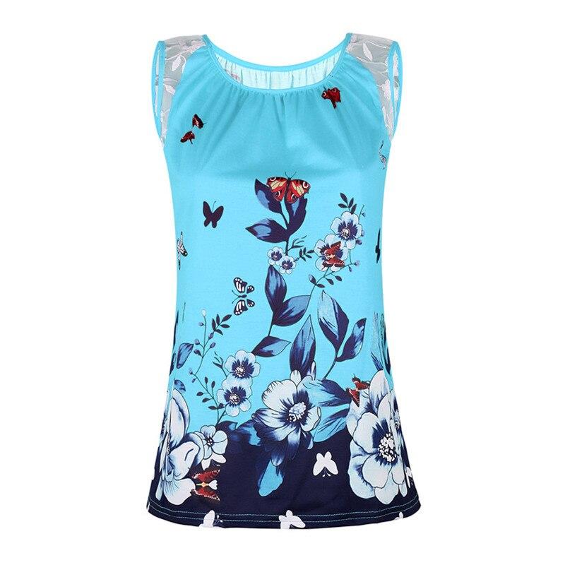 Talla grande 5XL verano playa Sexy Tops mujer Boho estampado camiseta Casual sin mangas de encaje Patchwork Camisetas Mujer 3D camiseta con mariposa