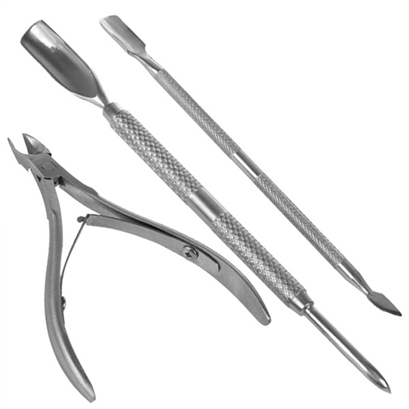 3PCS Nail Manicure Tool Stainless Steel Cuticle Nipper Spoon Cuticle Pusher Dead Skin Remover Scissors Trimmer Cutter Clipper недорого