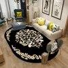 Tapis ovale noir chambre salon maison tapis antidérapant