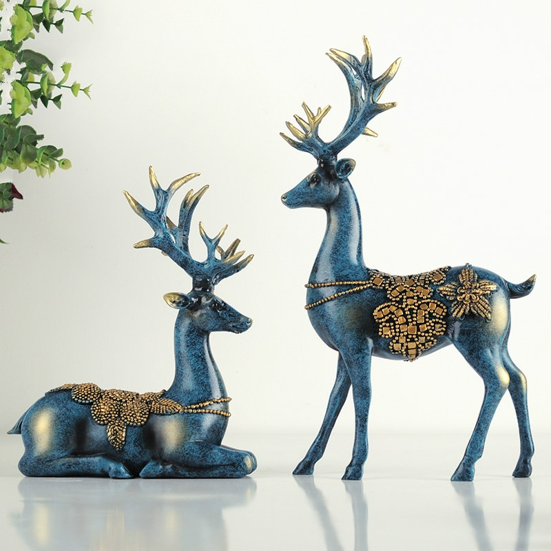 A couple of deer statue  European style deers  living room  bedroom  Wine cabinet  ornaments  creative wedding gifts