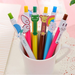 24 pcs Factory Direct Selling Cartoons Six Rainbow Ball Pen Learning Supplies Creative Stationery Wholesale