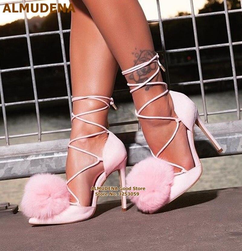 ALMUDENA-حذاء وردي للفتيات الصغيرات ، حذاء زفاف منفوش ، بكعب خنجر ، بأربطة متقاطعة ، مع مقدمة مدببة