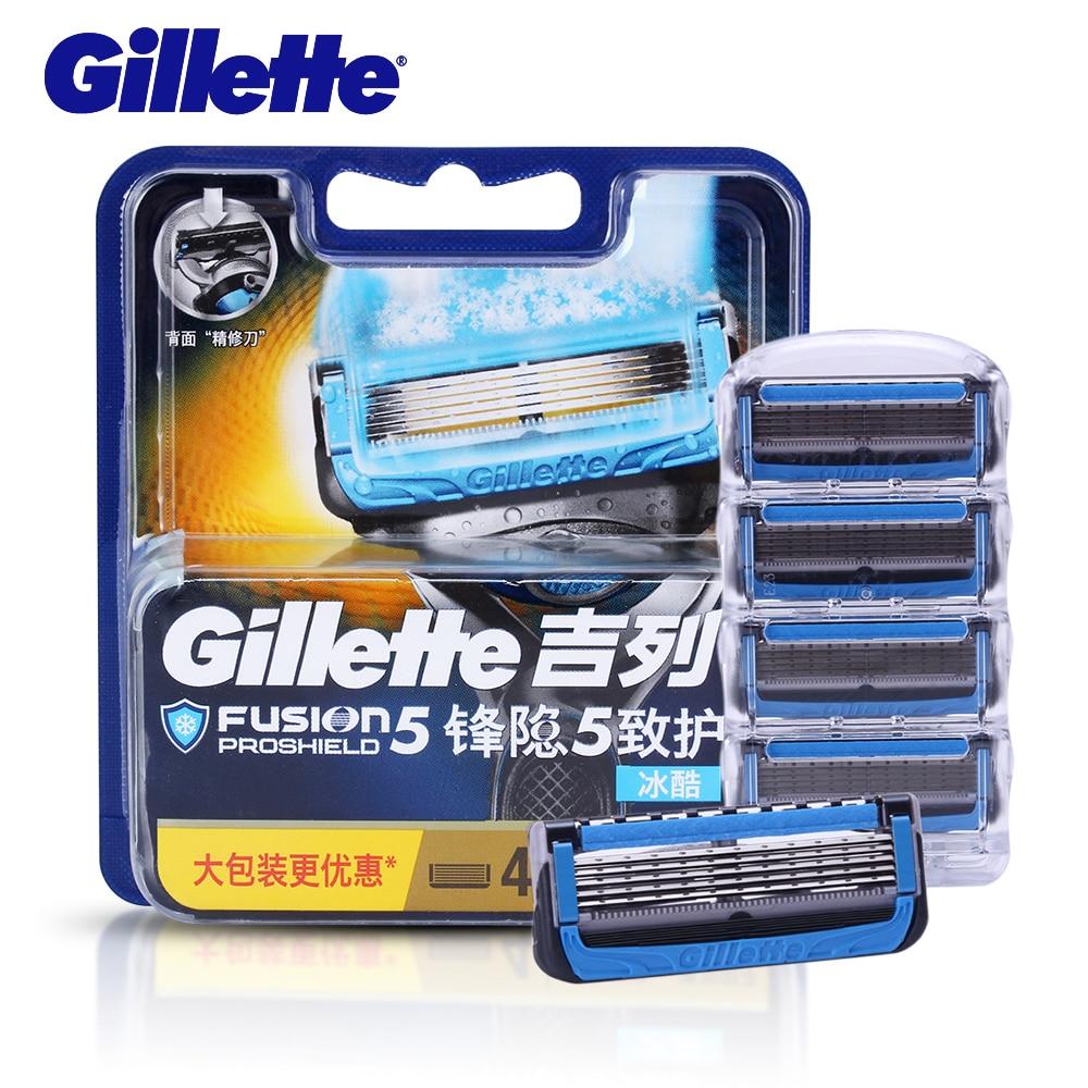 Бритвенное лезвие Gillette Fusion Proshield для мужчин, бритвенные лезвия с охлаждающим лезвием для бритья бороды, 4 станка для бритья