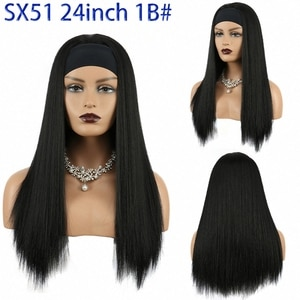 Synthetic Headband Wigs Long Straight Black Brown Color Cosplay Hair With Head Band for Women African American Hair