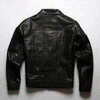 vintage copy japan 506 horsehide leather jacket men slim fit american denim shirt style short biker leather coat stylish black