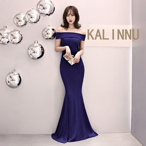 Evening Dresses Red Navy Blue Boat Neck Short Sleeves Customized Plus size Mermaid Floor-length Simple Woman Formal Dress R1167