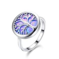 classic fashion popular geometric tree of life opal womens wedding jewelry ring valentines day gift jewelry wholesale