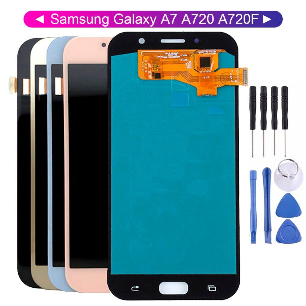 100% LCD probado para Samsung Galaxy A7 2017 A720 A720F SM-A720F piezas de pantalla LCD con herramientas gratis