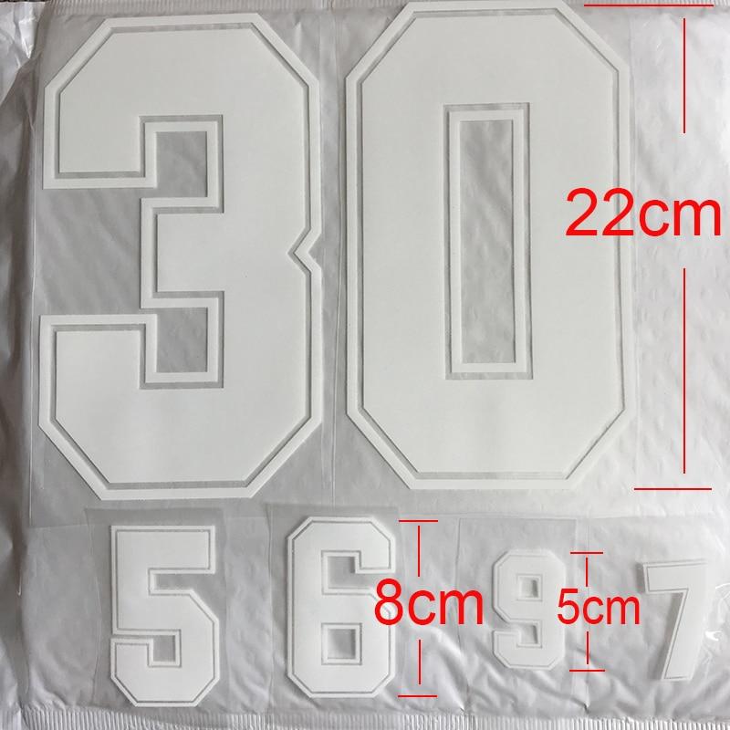 Números blancos 0-9 parches de transferencia de calor 22cm  8cm  5cm nombre deportivo pegatina de tela Transferencia de Calor caliente DIY hierro en ropa bolsa zapatos