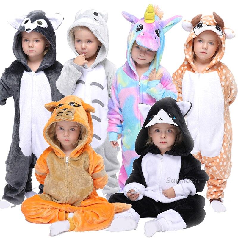Crianças kigurumi onesie unicórnio pijamas para crianças animal panda cobertor sleepers bebê traje de inverno meninos girsl gato leão jumspout