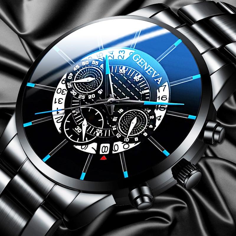 Watch men Stainless steel New 2020 Geneva Luxury Bussiness Fashion Top brand Calendar Quartz Watch for men Relogio masculino