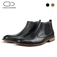 uncle saviano chelsea winter snows mens boots shoes best genuine leather non slip fashion designer work business boots men shoes