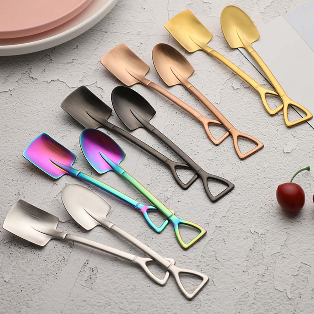 1 cuchara creativa de acero inoxidable con forma de pala para Postres, helado, café, cuchara, cucharas, pala, Pala plana, cuchara con mango largo