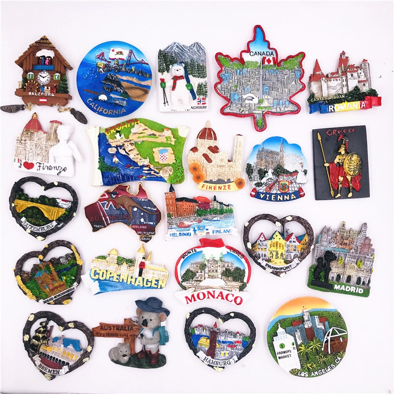Fridge Magnet Souvenir Spain Madrid Luxembourg Austria Canada Italy Germany Frankfurt Neuschwanstein Country City Travel Decor