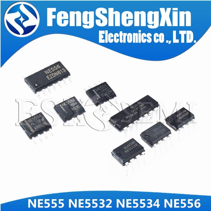 10 Uds NE555 NE555DR SOP-8 NE555P DIP-8 NE5532 NE5532DR NE5532P NE5534 NE5534DR NE5534P NE556 NE556N DIP-14 NE556DR SOP-14 IC