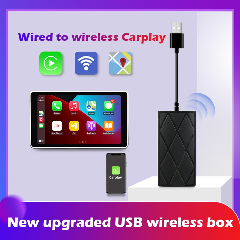 JMANCE Wired to Wireless CarPlay Dongle IOS 14 Adapter for Audi Benz Mazda Porsche Volkswagen Volvo Ford Citroen Honda Nissan