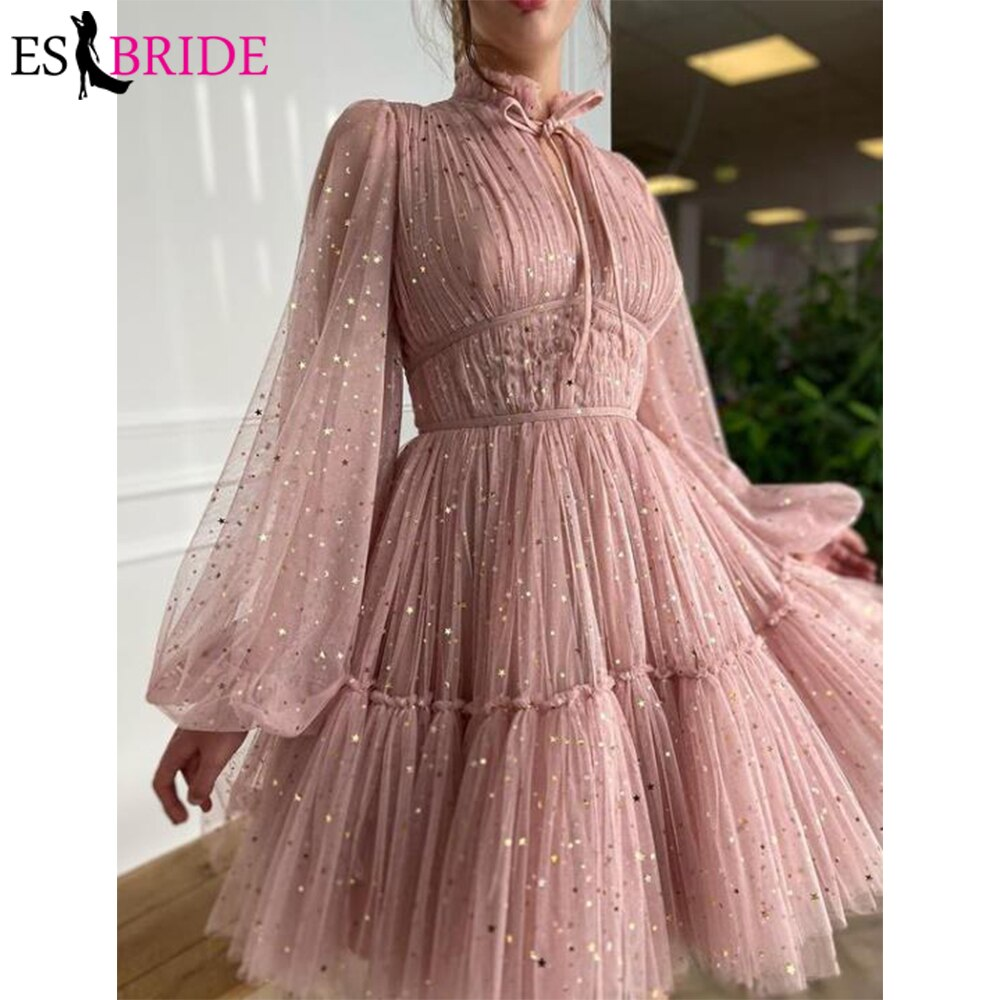 Glitter Short Cocktail Dresses For Woman Party Night High Neck Long Sleeve 2021 Homecoming Dress Vestidos Formales New Arriva