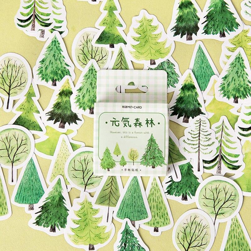 Boîte Kawaii papeterie forêt autocollants créatif frais plante adhésif planificateur décoration étanchéité autocollants 45 flocon