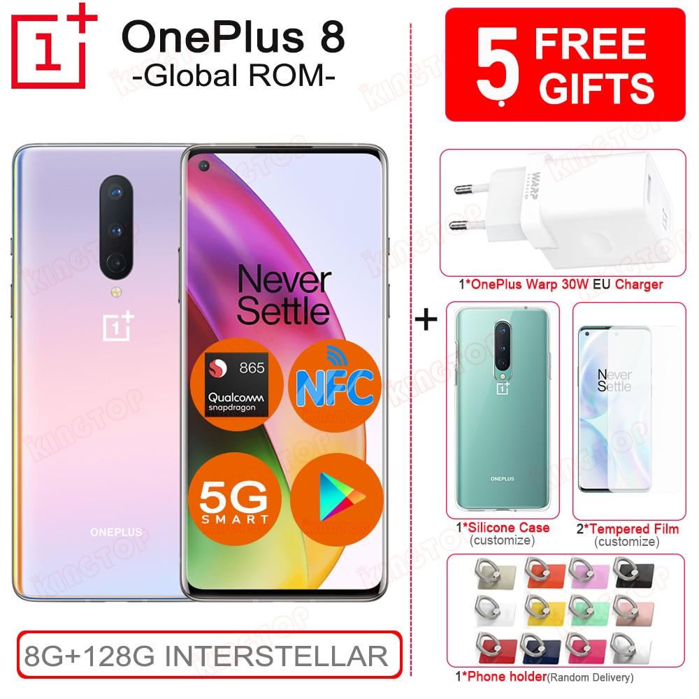 "Original OnePlus 8 mobile phone 8GB 128GB Snapdragon 865 6.55"" 90Hz Fluid Screen 48MP Triple Cameras NFC 4300mAh UFS3.0 Phone"