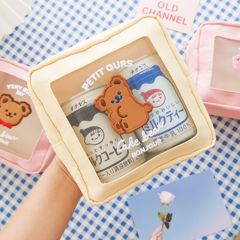 Milkjoy Korea Mesh Bear Cosmetic Cases Cute Girls Waterproof Makeup Bag Women Travel Wash Bag Home Storage Case