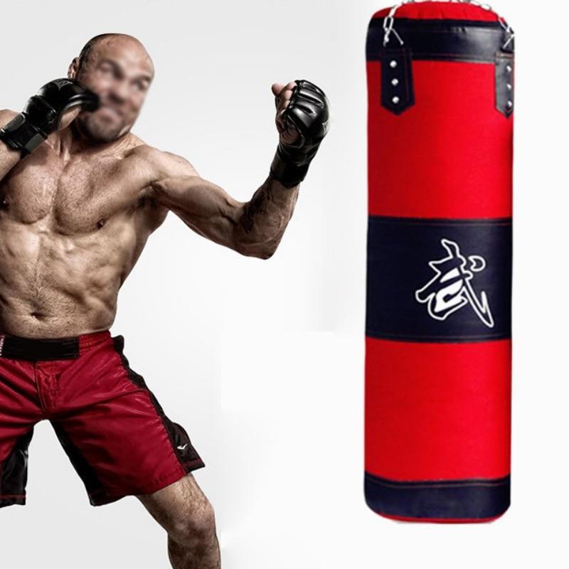 Empty Boxing Sand Bag Hanging Kick Sandbag Fight Karate Training Punching Sand Bag With Metal Chain Hook Carabiner