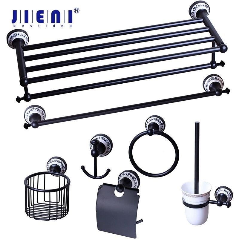 JIENI-حلقة تعليق مثبتة على الحائط ، سوداء ، ORB ، ملحقات الحمام ، حامل المناشف ، حامل فرشاة المرحاض ، كوب زجاجي بلوري