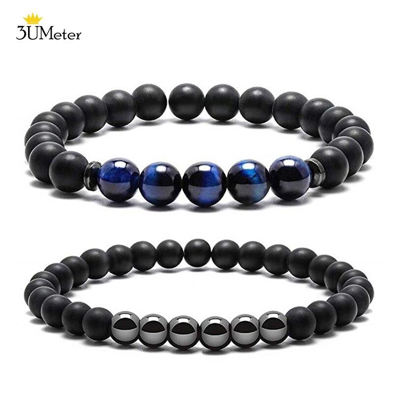 Mate negro Onyx oración pulsera de perlas de ojo de tigre azul pulsera de perlas de piedra para los hombres las mujeres elástico hematita natural pulsera de piedra