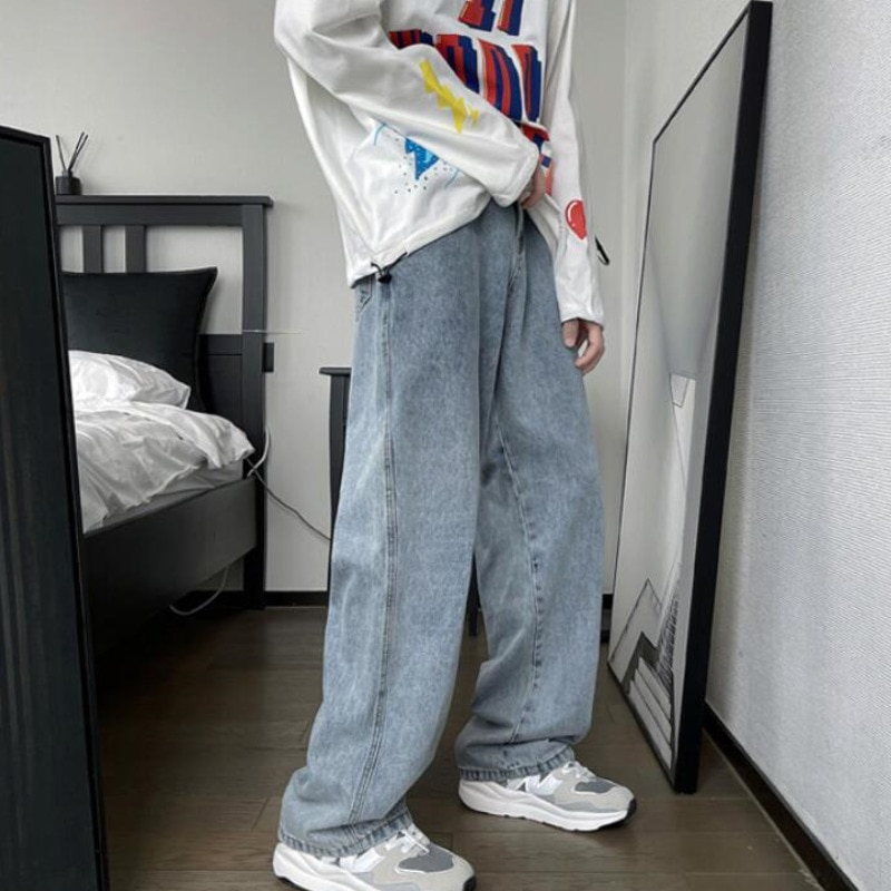 Осенние Синие черные укороченные джинсы мужские корейские повседневные мужские джинсы модные мешковатые джинсы Мужская Уличная одежда ре...