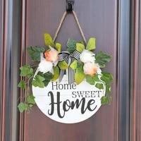 Signe de bienvenue couronne de porte dentree  jolie maison ronde de 11 pouces suspendue a lexterieur  signe Vertical  decoration de la maison  couronne de decoration pour maison de ferme