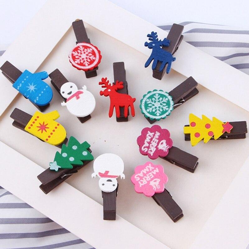 12 Uds. Decoración navideña bonitos Clips de madera Natural Anmal con cordel para foto Clips pinza de ropa artesanal decoración Clips clavijas