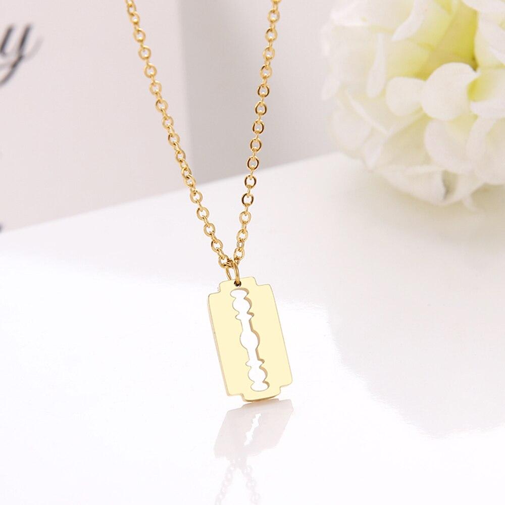 Cacana colar de aço inoxidável para mulheres moda estilo lâmina gargantilha corrente pingente de ouro colares de noivado jóias