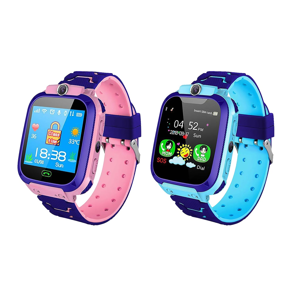 Q12 Kids Smartwatch Waterproof Phone Call Watch SOS Anti Lost Tracker Smart Watch for Children Gift Blue Pink multi-Languages