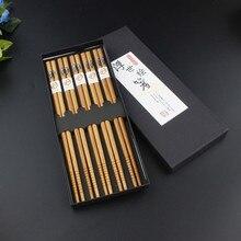 5 Pairs Set Portable Japanese Reusable Chinese Chopsticks Set Natural Beech Wooden Chopsticks Food sticks Chop Sticks Gift