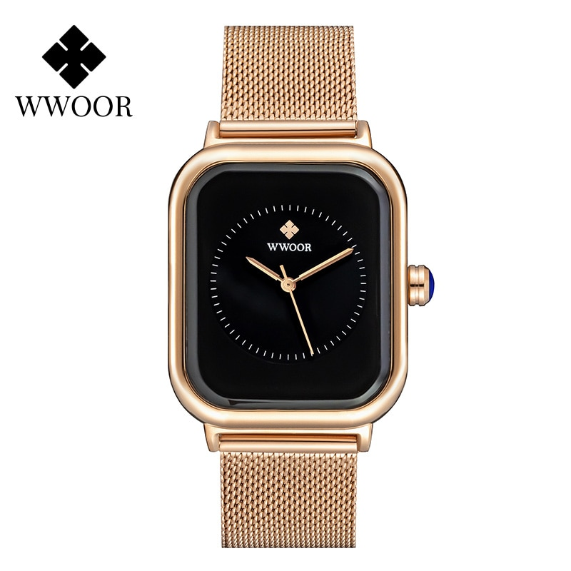 montre femme 2021 Luxury Rose Gold Womens Watches WWOOR Famous Brand Ladies Fashion Square Quartz Watch Female Dress Wrist Watch enlarge