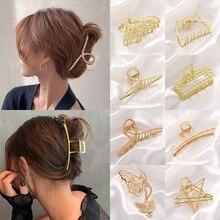 2021 חדש נשים אלגנטי זהב חלול גיאומטרי מתכת שיער טופר בציר שיער קליפים סיכת סרט שיער סרטן שיער אבזרים