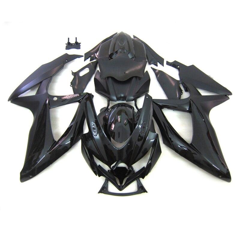 Barato injeção carenagem para suzuki gsxr750 k8 2008 2009 2010 gsxr 600 gsxr600 08 09 10 plana preto conjunto de carenagens do corpo da motocicleta