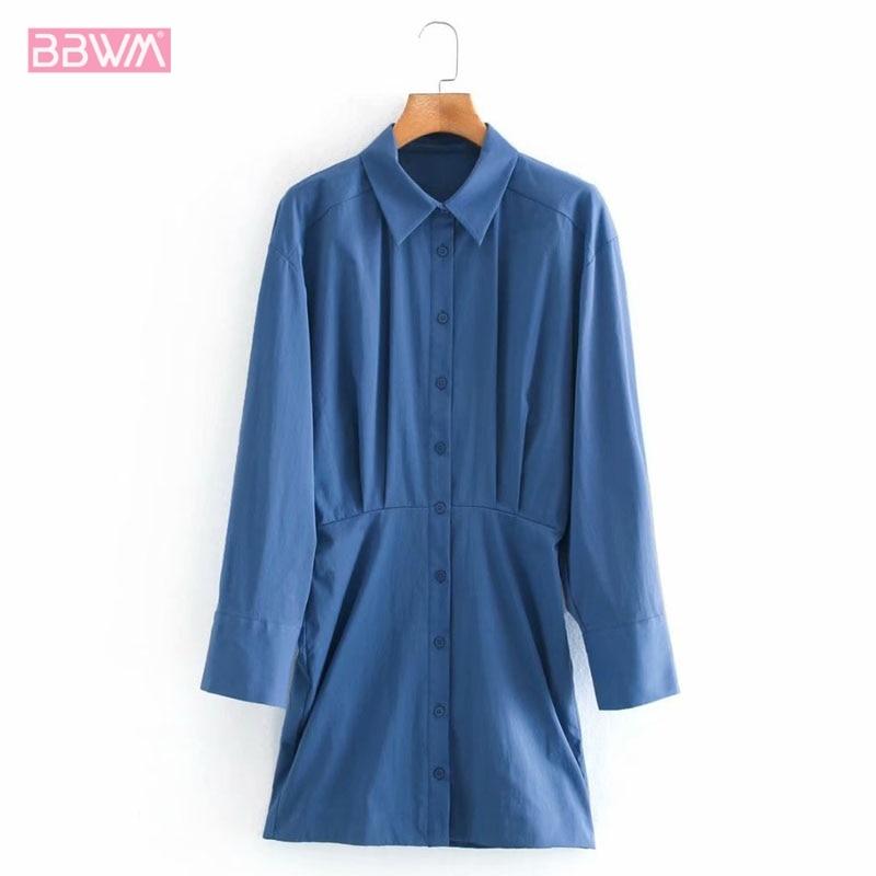 Azul lapela único-breasted manga longa chique vestido feminino estilo coreano moda simples longo vestido feminino