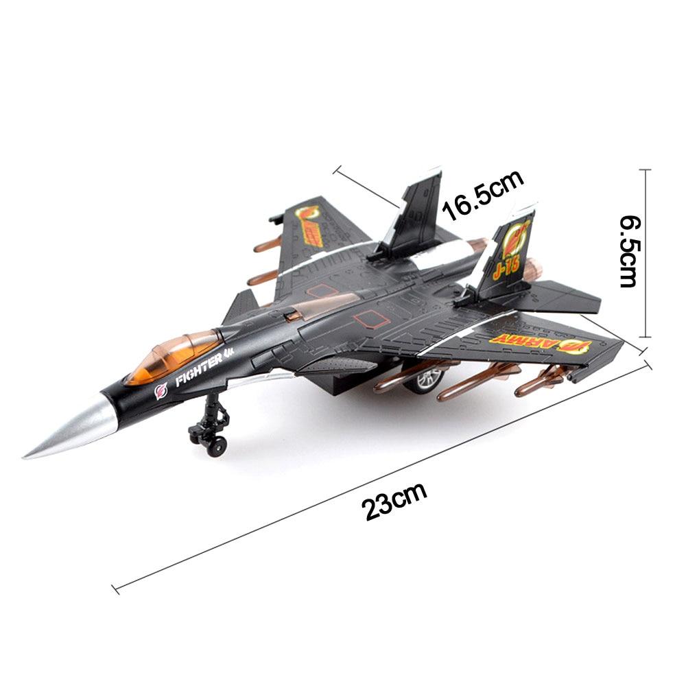 Crianças deslizantes aeronaves liga com luz de som puxar para trás j15 lutador modelo brinquedos veículos diecast aviões brinquedos