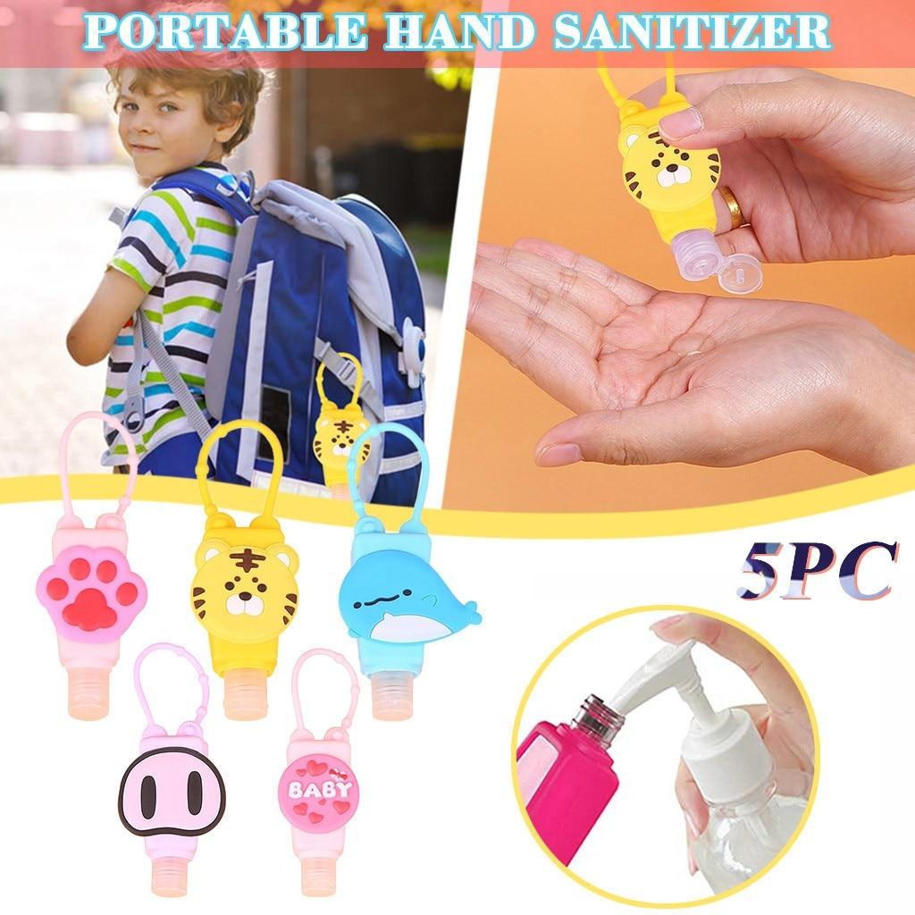 5 unids/lote 30ml botella recargable portátil de viaje de silicona mano de Perfume desinfectante titular de dibujos animados Mini botella vacía Z0818