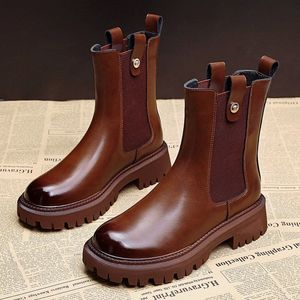 Leather Martin boots women's British two-layer cow leather 2020 new popular middle tube plush thick soled Chelsea boots
