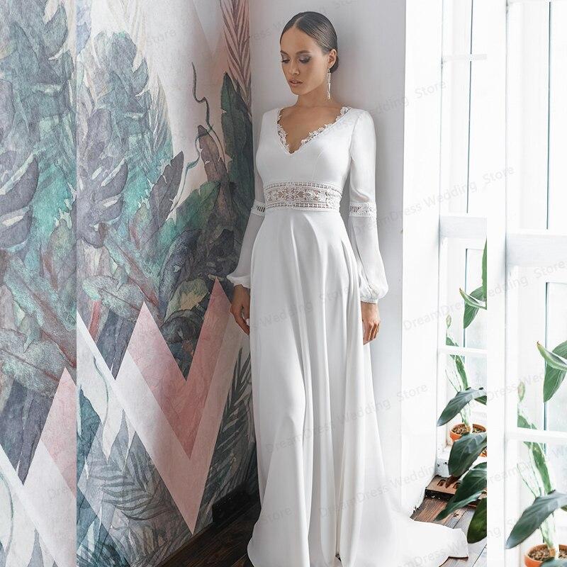 البوهيمي الخامس الرقبة فساتين الزفاف 2021 عارية الذراعين الشيفون بسيط شاطئ رائع للنساء فستان زفاف رداء دي ماريج مخصص