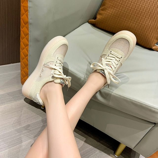AIYUQI Sneakers Women 2021 Summer New Thick-soled Casual Student Board Shoes Women All-match Hollow Canvas Shoes Women 6