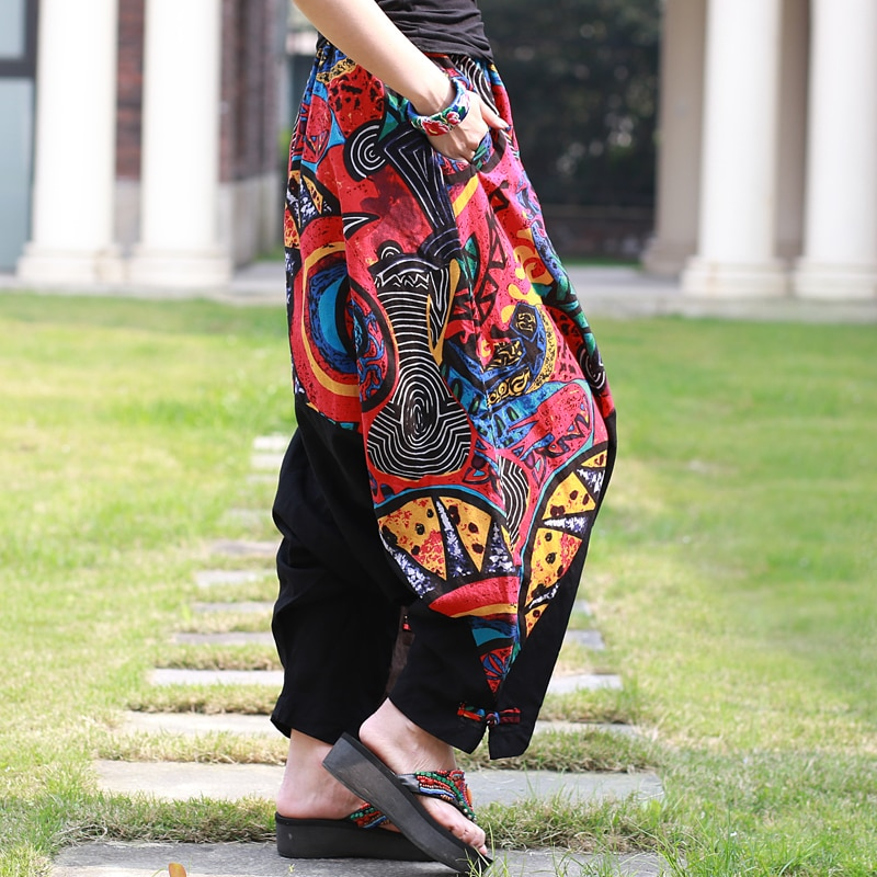 [EWQ] 2020 moda nueva impresión Patchwork suelto Cruz-Pantalones personalidad de moda Primavera banda elástica Mujer Bottoms BE119