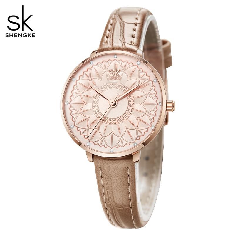 Shengke Women Watches Flower Dial Japanese Quartz Movement Elegant Watches for Women Leather  Reloj Mujer