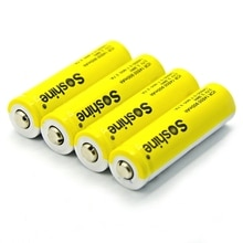 Soshine 4 pièces 14500 AA Li-ion batterie sans protégé 3.7V 900mAh Batteries rechargeables avec boîte de batterie