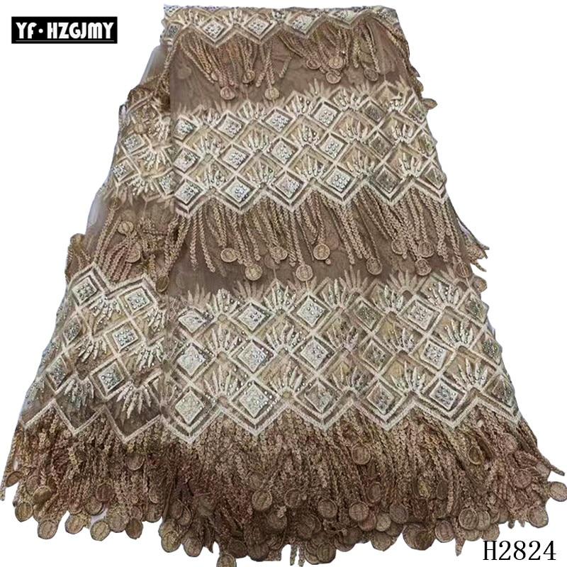 YH HZGJMY tela de encaje africano diseño único tela nigeriana guipure encaje bordado borla dentelle tissu para vestido de fiesta A2824