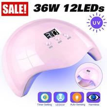USB UV LED Lamp Nail Dryer 36W Phototherapy Machine Nail Tools 30s/60s/90s Three-stop Timing Smart Sensors Nails Dryer